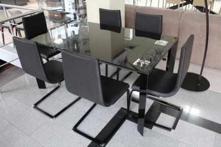 Стол раскладной Diamante1, 160 + 60, nero lucido, vetro nero lucido