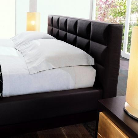 Кровать CROSS 160x200, экокожа темно-коричневая