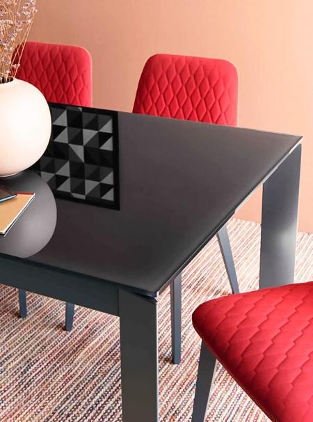 Стол раскладной BARON 130 + 60, стекло frosted grey, matt grey