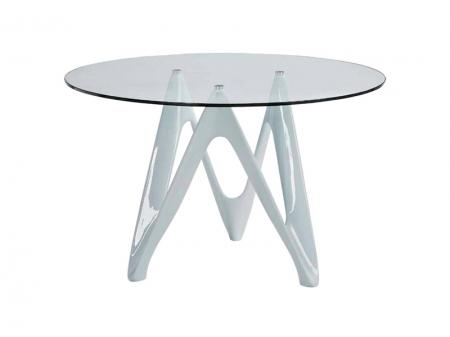 Стол DEMO, круглый, белый, стекло