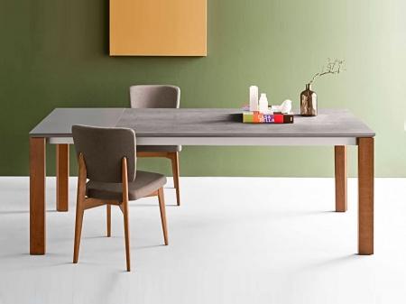 Стол раскладной EMINENCE 160 + 50, керамика cement, орех