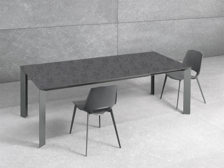 Стол раскладной Diamante1, 160 + 60, grigio grafite, vetro grigio scuro