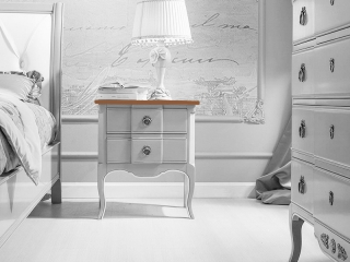 Комплект для спальни: две тумбы и комод, белый, дерево