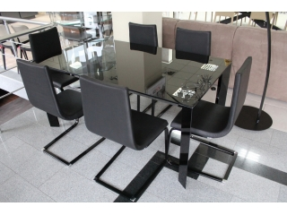 Стол раскладной Diamante1, 140 + 60, nero lucido, vetro nero lucido