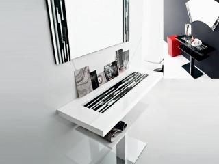 Комплект Venezia, черный глянец: консоль, зеркало