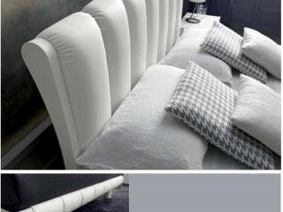 Кровать Armonia 160x200 frassino, экокожа, белая
