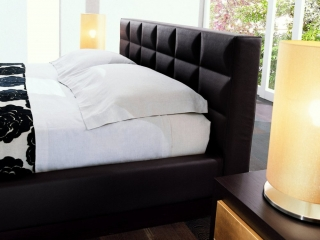 Кровать CROSS 160x195, экокожа темно-коричневая