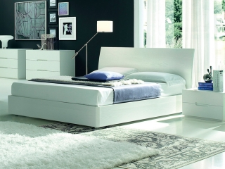 Кровать Vela 160x195 с контейнером, frassino окрашенная белая