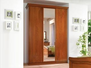 Шкаф Beatrice орех, трехдверный, 1 зеркало, высокий