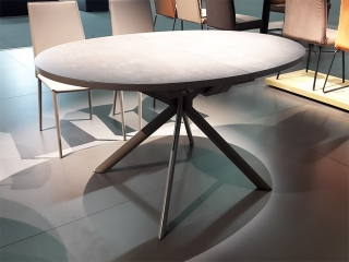 Стол раскладной GIOVE OVALE 140 +50, керамика cement