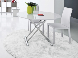 Стол трансформер Simple round белый глянец