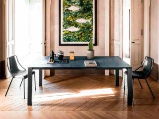 Стол раскладной BADU 120 +50, стекло графит