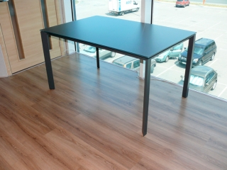 Стол раскладной KLASS 140 +60, стекло графит
