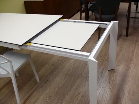 Стол раскладной BARON 130 + 60, стеклокерамика, белый