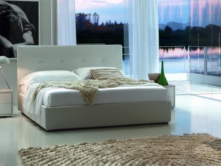 Ліжко Dedalo 1620x2000 з контейнером, біла екошкіра