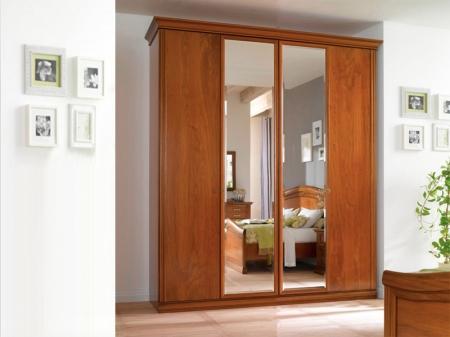 Шкаф Beatrice орех, четырехдверный, 2 зеркала, высокий