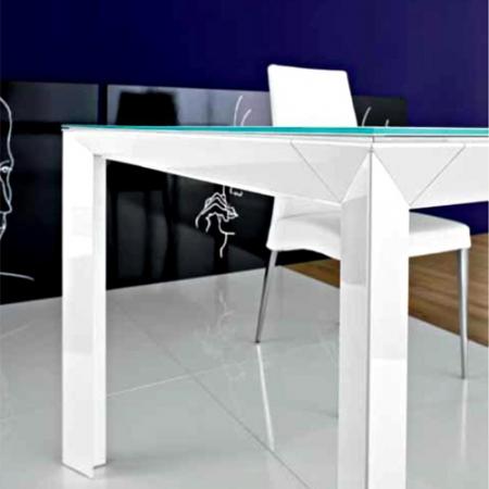 Стол раскладной Diamante1, 140 + 60, bianco lucido, vetro bianco opaco