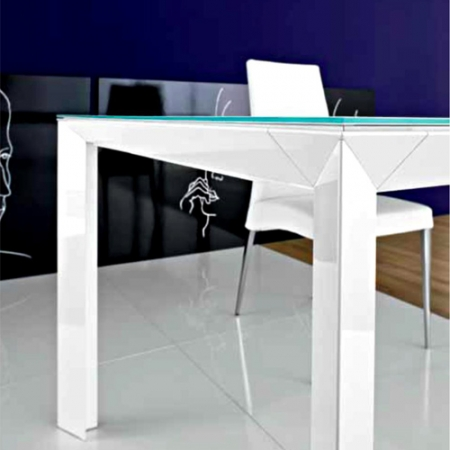 Стіл розкладний Diamante1, 140 + 60, bianco lucido, vetro bianco opaco