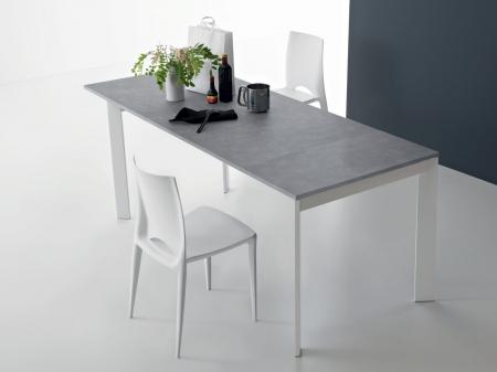 Стіл розкладний Zen Plus 120 + 40, bianco, vetro extrabianco