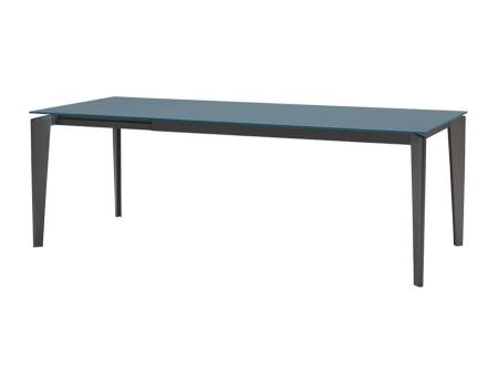 Стол раскладной AKIL 140 +60, стекло графит