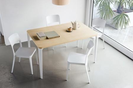 Стол NENE 140, шпон дуба, белый