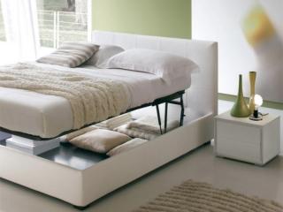 Кровать Dedalo 180x195 с контейнером и подъемным механизмом, темно-коричневая экокожа