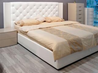 Ліжко Aura 180x200, frassino білий, екошкіра біла з підйомним механізмом