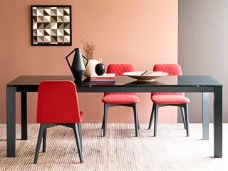 Стол раскладной BARON 160 + 60, стекло frosted grey, matt grey