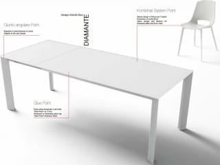 Стол раскладной Diamante1, 160 + 60, bianco lucido, vetro bianco opaco