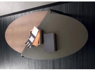Стол журнальный SMART овальный, бронза, орех