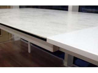 Стол раскладной KLASS 140 +60, стеклокерамика Oxide Bianco